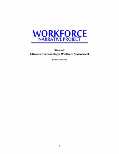 Aecf Wanted A Narrative For Investing In Workforce Development cover