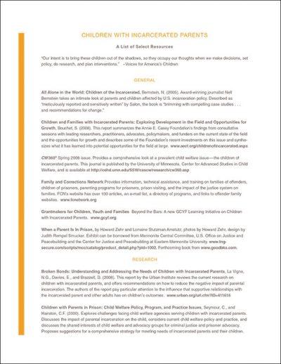 Aecf childrenwithincarceratedparentsresourcelist 2008 pdf 1