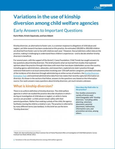 Variations in the Use of Kinship Diversion Among Child Welfare Agencies